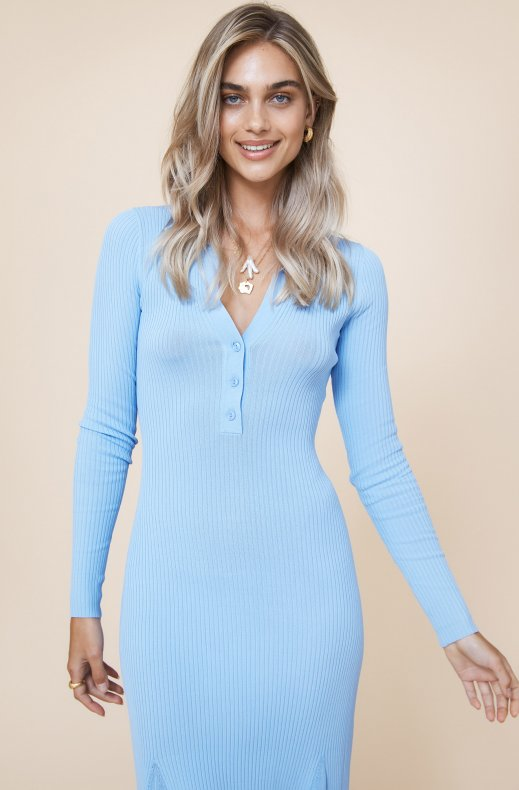 Adoore - Collar Knitted Dress - Blue