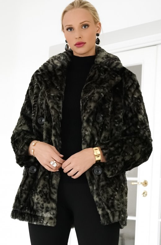 Alix the Label - Animal Faux Fur Coat Dark Olive