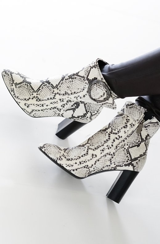 A Pair - Buckle High Rounded Bootie Snake