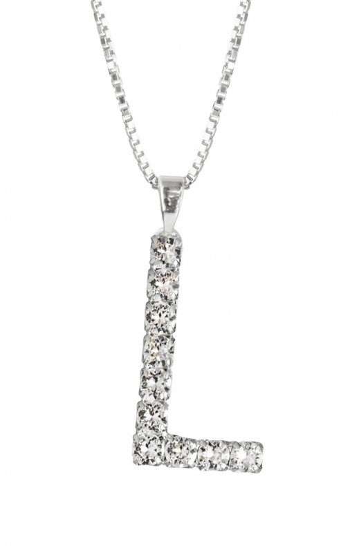 Caroline Svedbom - Letter Necklace L- Rhodium Crystal