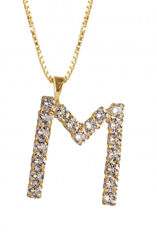 Caroline Svedbom - Letter Necklace M - Gold Crystal