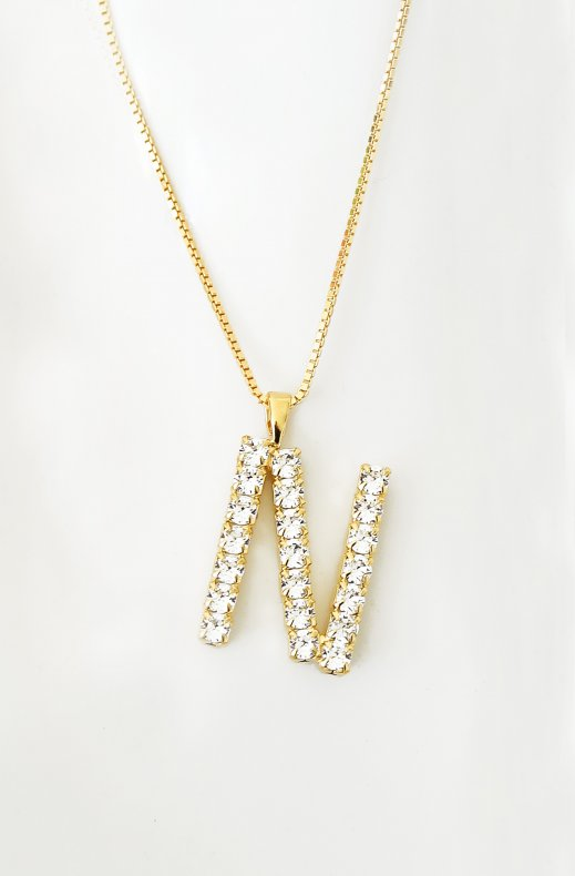 Caroline Svedbom - Letter Necklace N - Gold Crystal