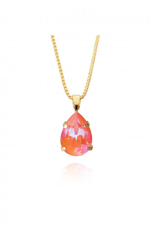 Caroline Svedbom - Mini Drop Necklace - Gold Orange Glow Delite