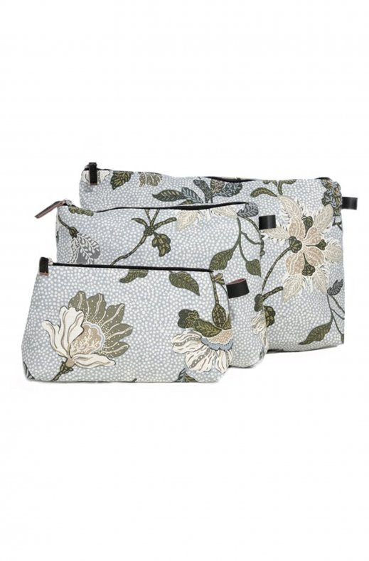 Ceannis -Cosmetic Bag Large - White Flower Linnen