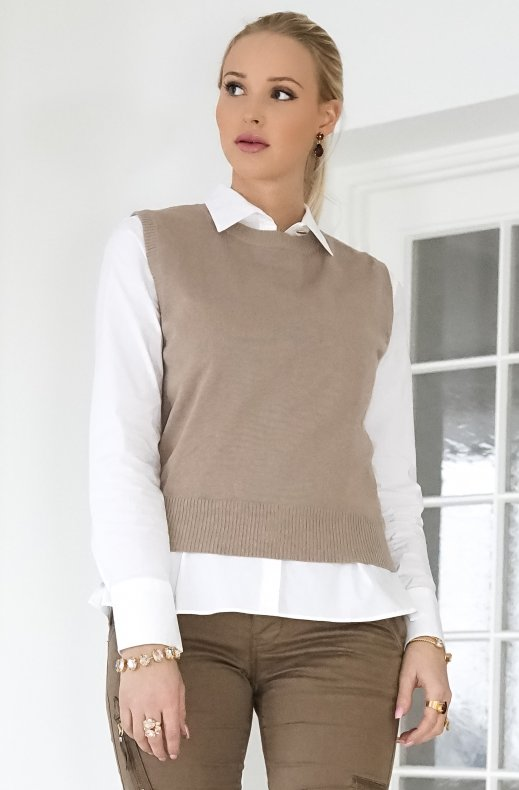 Freequent - amazy vest desert taupe