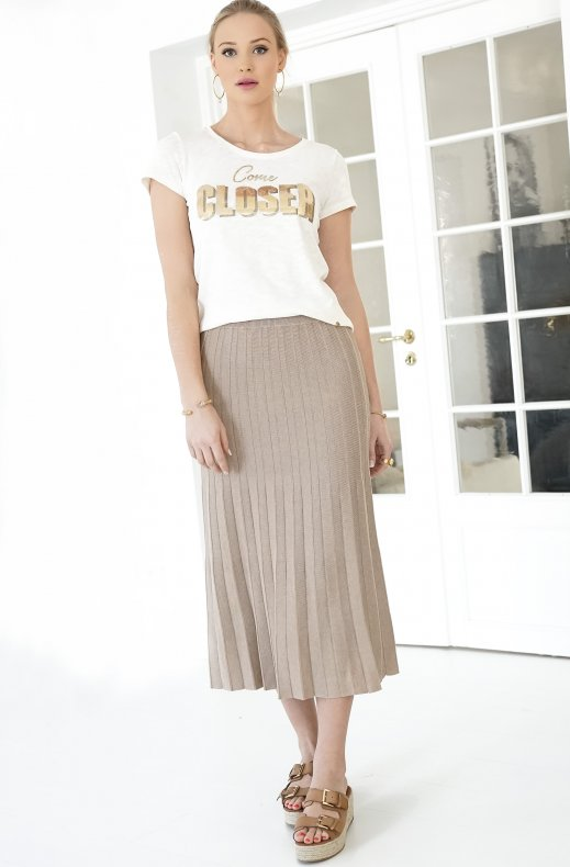 Freequent - Ani Skirt Pleat -- Beige Sand