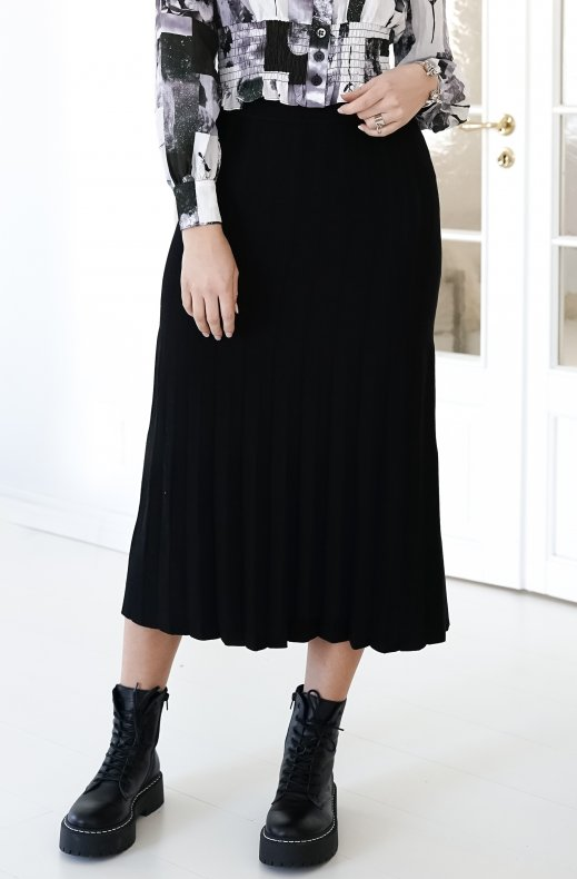 Freequent - Ani Skirt Pleat Black