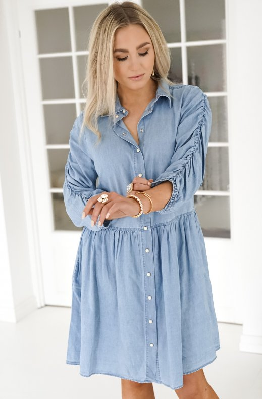 Freequent - Dobby Dress - Light Blue Denim