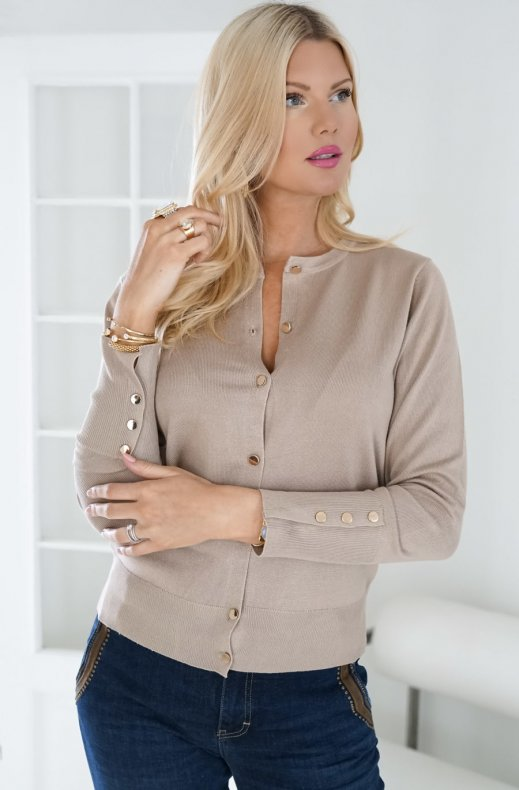Freequent - Katie Button Cardigan Oxford Tan