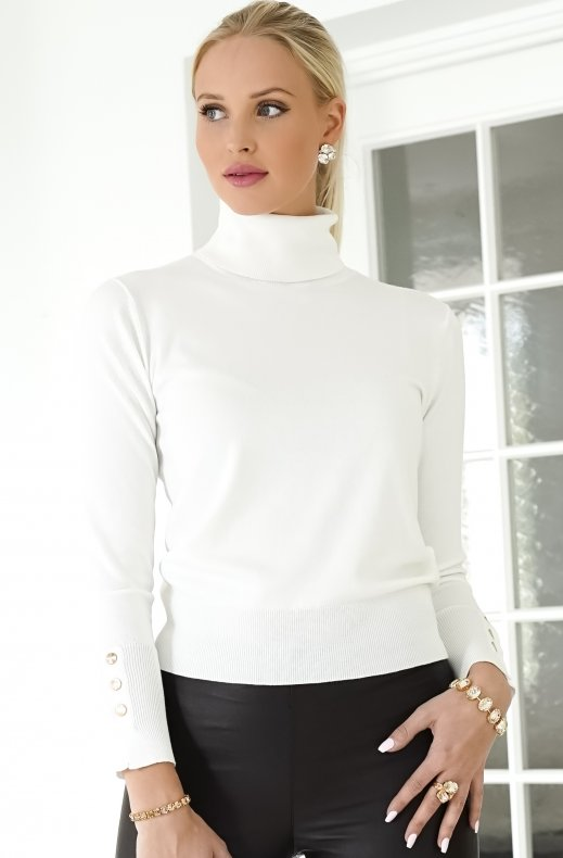 Freequent - Katie Rollneck Button Offwhite