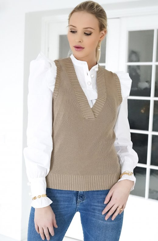 Freequent - Lovely v-neck vest beige sand