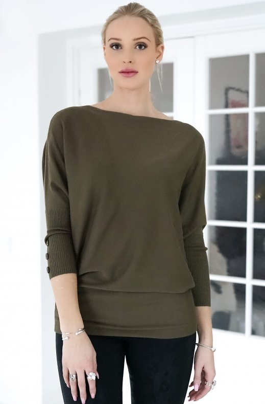 Freequent - Sally Pullover Button Olive Night