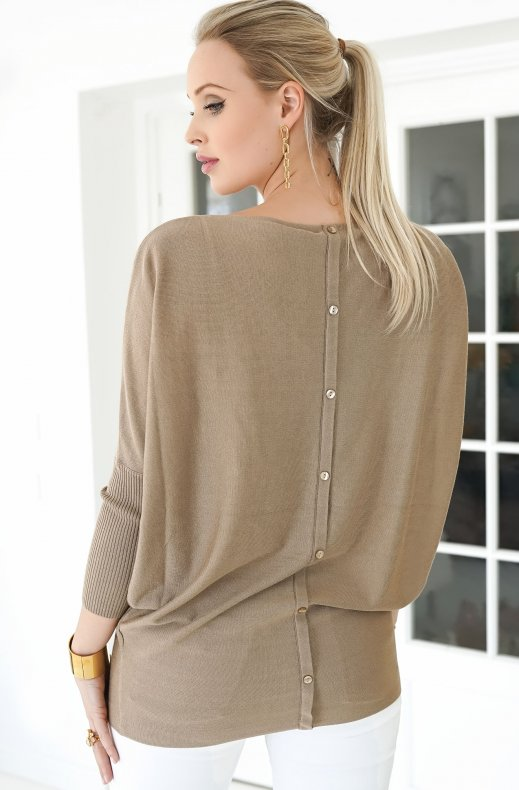 Freequent - Sally Pullover Button Back - Beige Sand