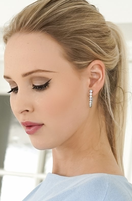 Jane and Sophie - Short Crystal Earrings - Silver