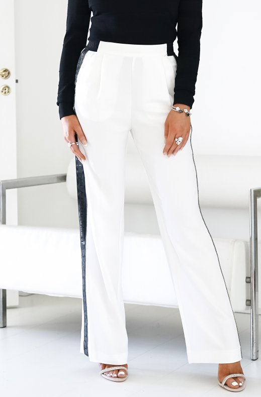 KARL LAGERFELD – CADY PANTS WITH LOGO TAPE 205W1001 WHITE