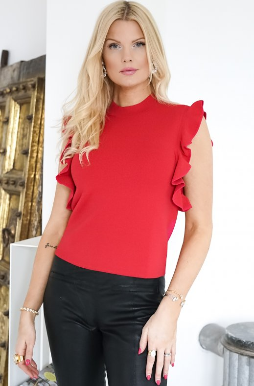 Karl Lagerfeld - Colour Block Ruffle Knit Cropped Top Red