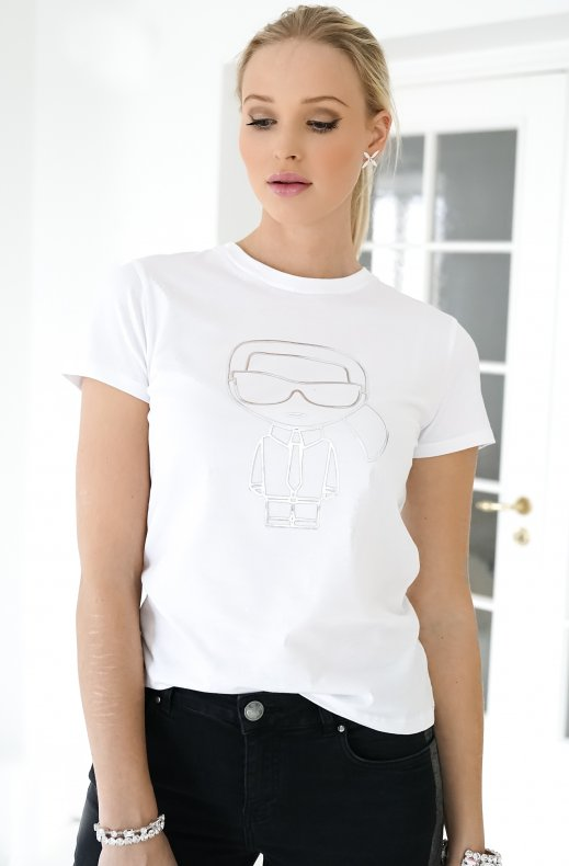 Karl Lagerfeld - Ikonik metallic outline tshirt white
