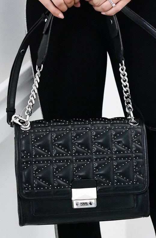 Karl Lagerfeld - K Quilted studs shoulder bag black nickel