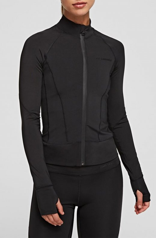 Karl Lagerfeld - Technical Sweatshirt Zip Up Power Mesh - Black