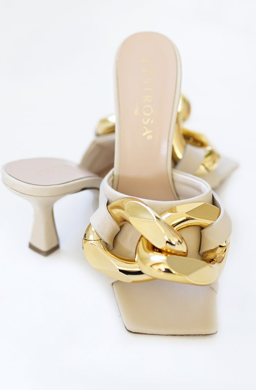 Lestrosa - Large Gold Buckle Heel - Beige