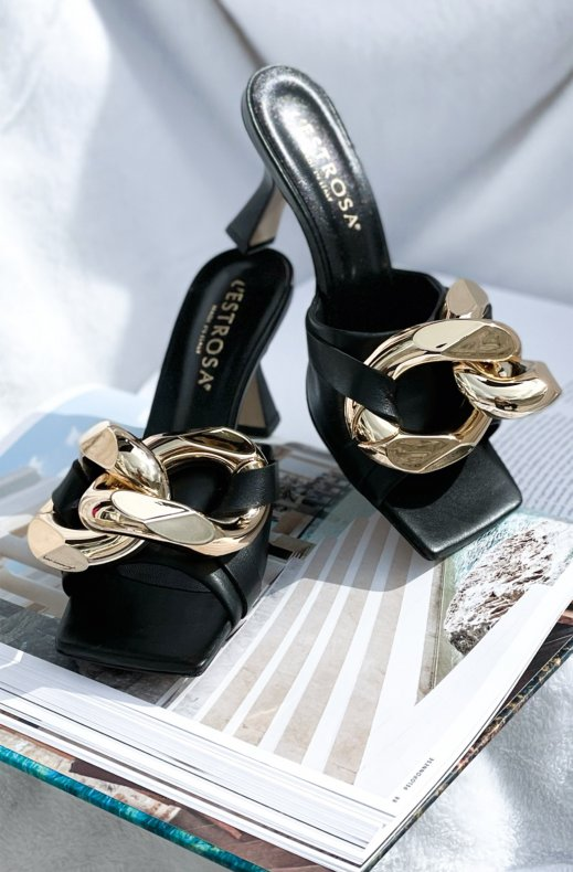 Lestrosa - Large Gold Buckle Heel - Black