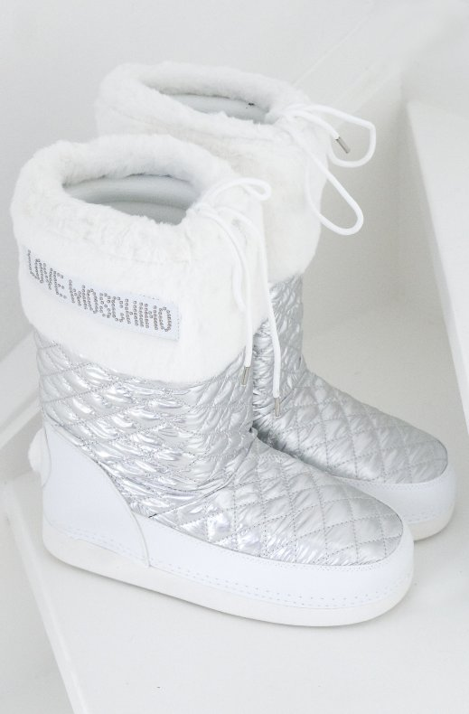 Love Moschino - Winter Boots Quilted Silver