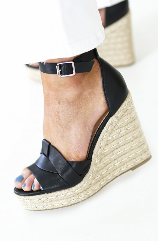 Steve Madden - Sivian Wedge - Black Leather